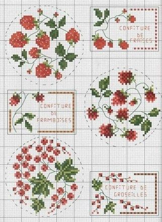 Free cross stitch pattern strawberry redcurrant jam labels