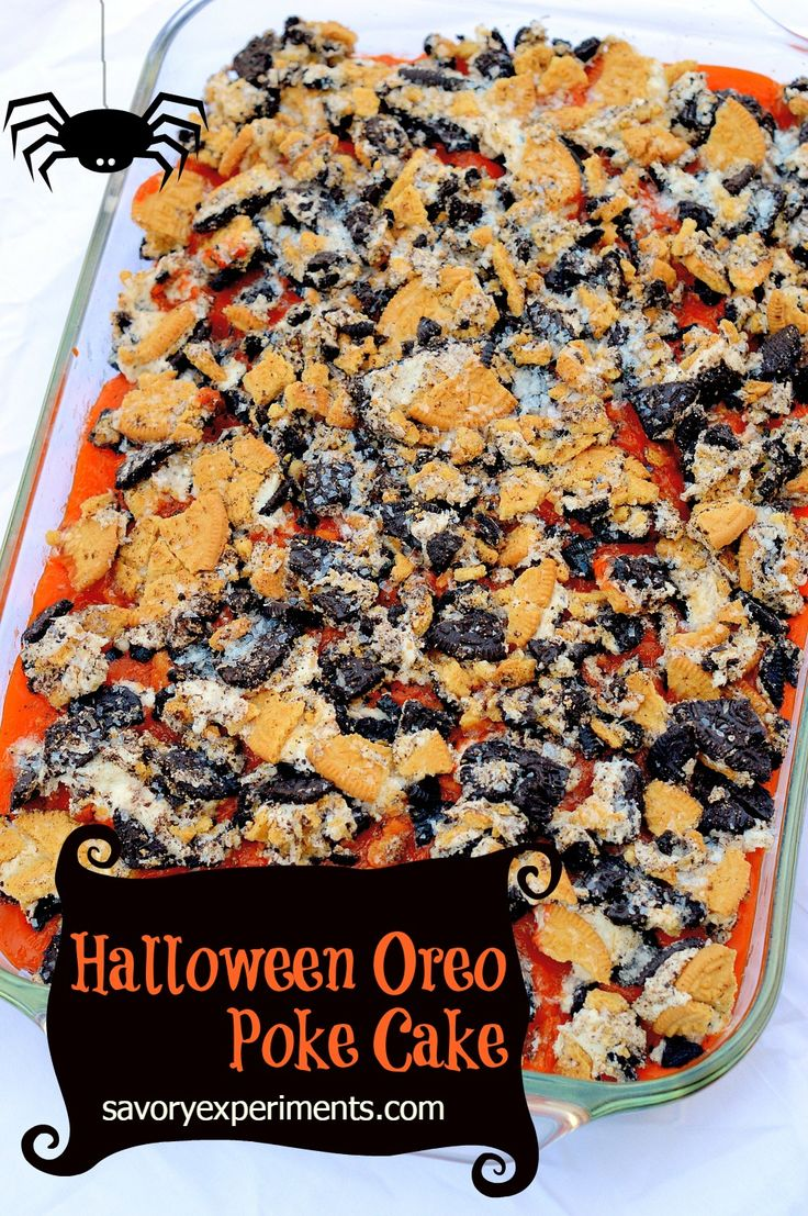 Halloween Oreo Poke Cake Recipe- a cheap way to feed a large crew for any holiday! Yummy cake with pudding and Oreo's!