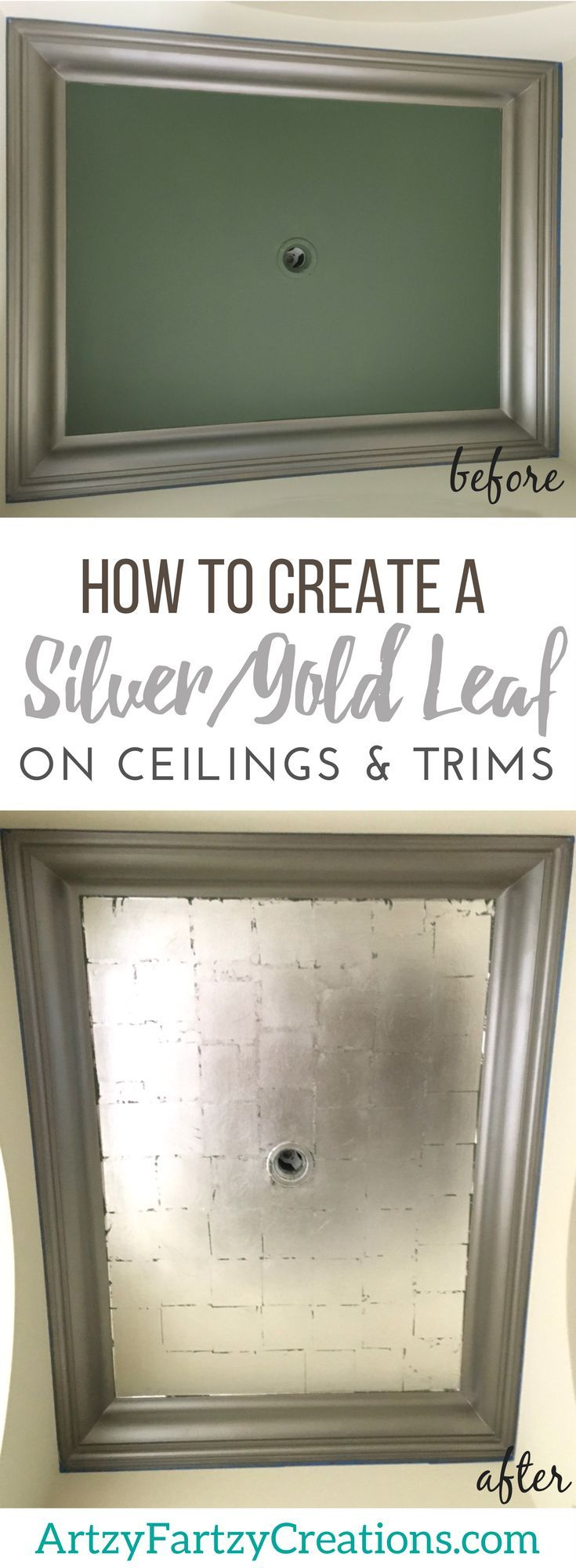 How to apply gold/silver leaf on ceilings and trims for added drama, dimension and color! Free tutorial by professional faux finish painter Cheryl Phan of ArtzyFartzyCreations.com | Painted Ceilings + Silver Paint + Silver Leafing + Gold Leafing + Paintin