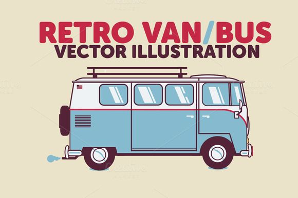 Retro Bus / Van Vector Illustration - Illustrations - 1