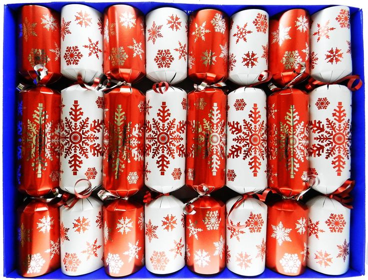 Red and White Snowflake Family Christmas Crackers - hand filled in UK with quality gifts for all the family