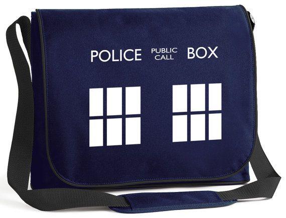 TARDIS Police Box Laptop Messenger Bag   di PrintMyClothing, £16.95