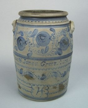 ♥Crock Circa 1860, 1860 Pennsylvania, Cobalt Design, Stoneware Crocks, Salts Glaze, Beautiful Salts, Glaze Crock, Blue Cobalt, Antiques Crock