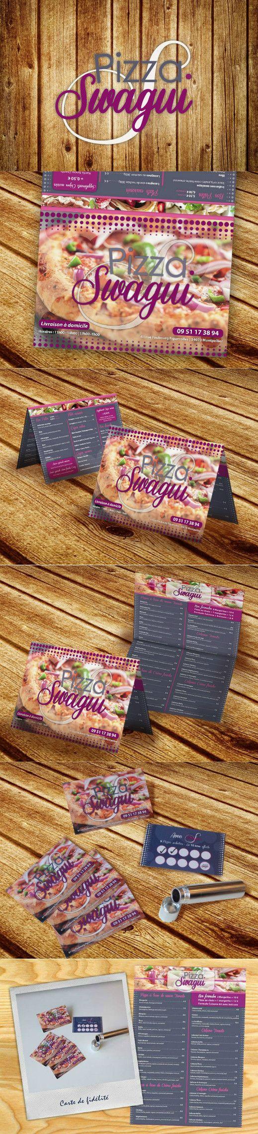 Création et impression dépliant - Pizzeria Pizza Swagui à Montpellier • Création graphique du logo. • Création graphique et impression dépliant deux volets et de sa carte de fidélité.  #Pizzeria #Graphisme  #design