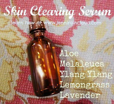 DIY Skin Clearing Serum….. 3 1/2-4 TBSP. Aloe Vera Gel 15 drops Melaleuca (tea tree) 10 drops Ylang Ylang 7 drops Lemongrass  5 drops Lavender