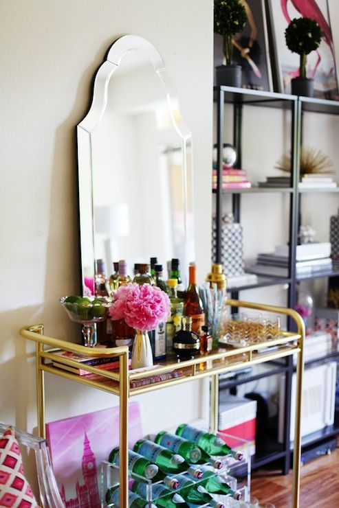 The Glitter Guide - living rooms - Allen + Roth Hovan Arch Frameless Mirror, brass bar cart, bar cart, vintage brass bar cart, liquor, libat...