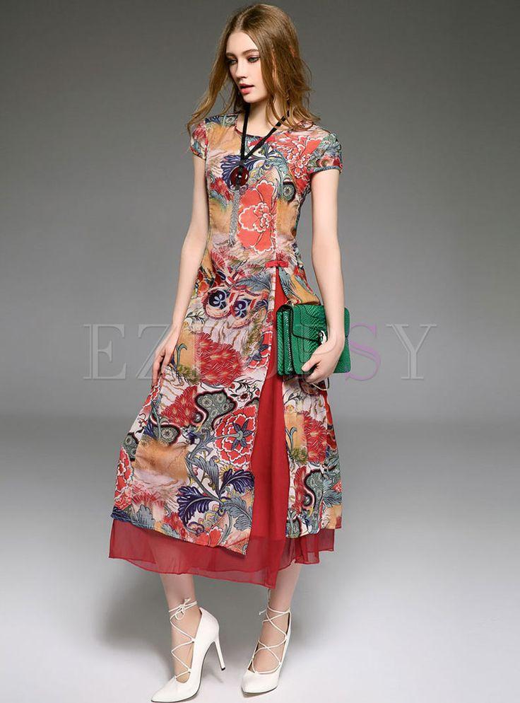 Vintage Print verbesserte Cheongsam Kleid
