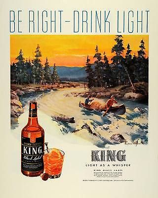 1944-Ad-Brown-Forman-King-Black-Label-Whisky-Frederic-Mizen-Art-Canoeing-FZ6