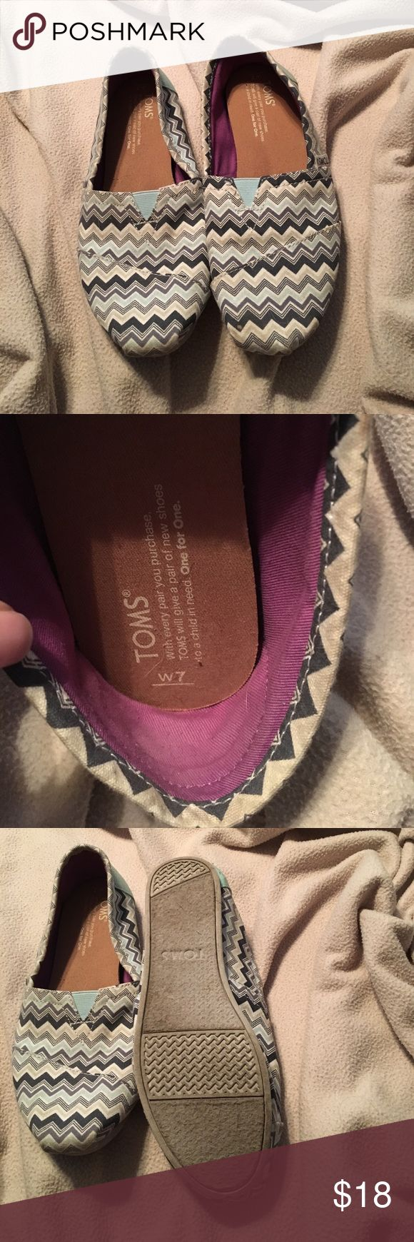 Chevron toms Gently used blue/grey/charcoal/tan chevron Toms. Toms Shoes Flats & Loafers