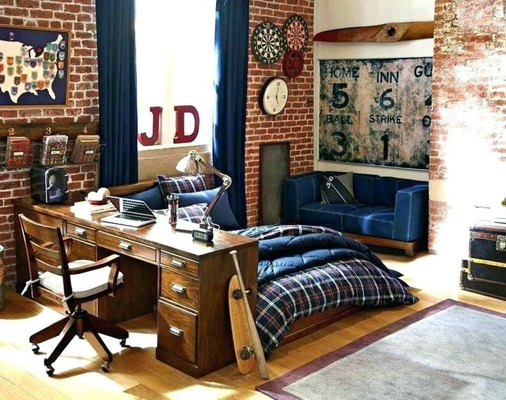 Bedroom Design For Young Man | Cool dorm rooms, Mens room ...
