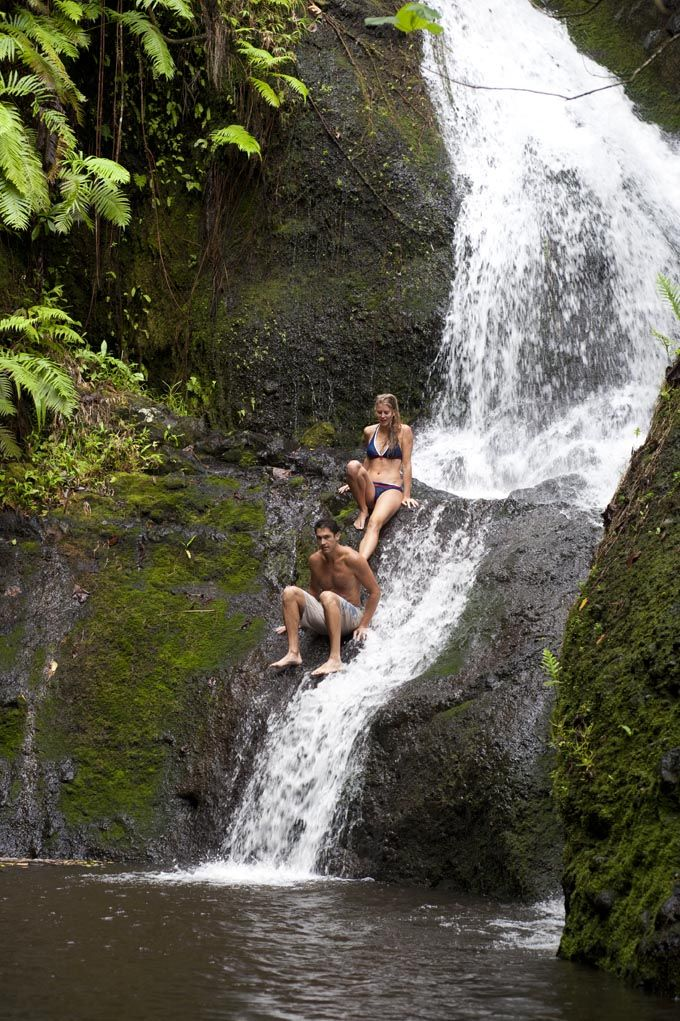 Cool off in at the Wigmores waterfall after the Cross Island Walk.