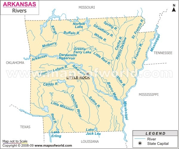The Arkansas Rivers Map Indicates The Natural Streams That Flows Through Many Prominent Cities Of The State The Long Arkansas River Is Known As The Major