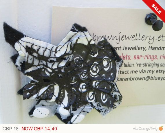 Sale -  Textile Abstract Brooch, Felt Brooch, Mixed Media Abstract Brooch, black brooch, Unusual Designer Art Brooch UK by KBrownJewellery on Etsy