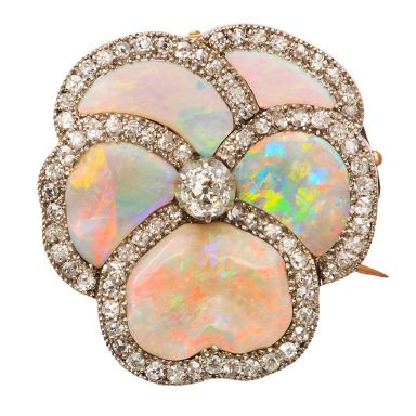 Opal And Diamond Pansy Brooch Set In Platinum - American   c.1925