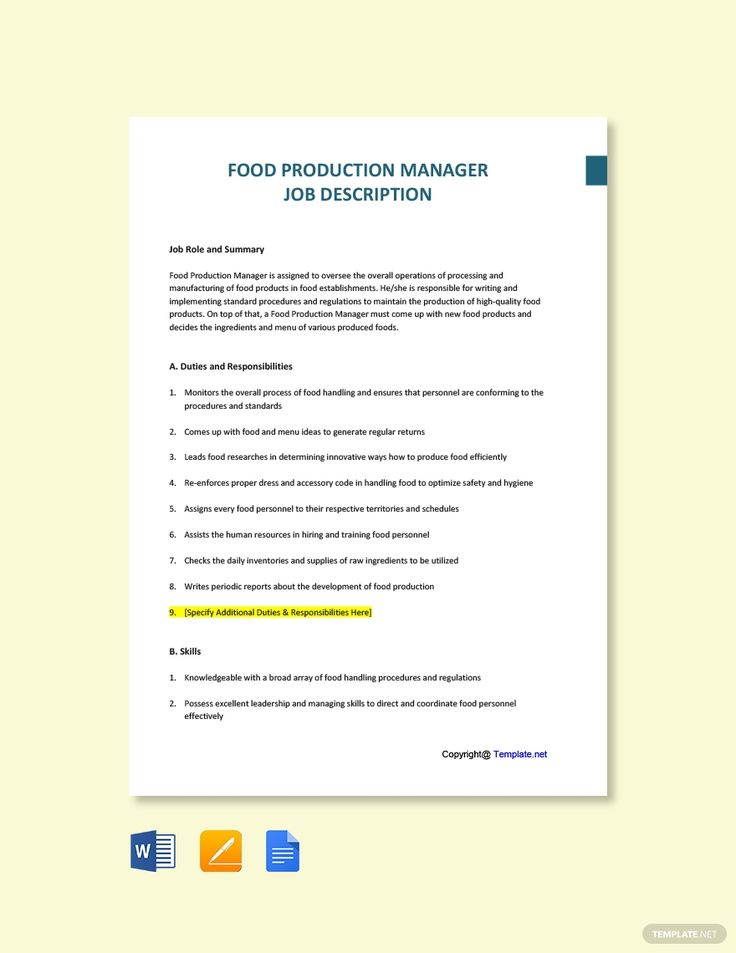 Free food production manager job description template in