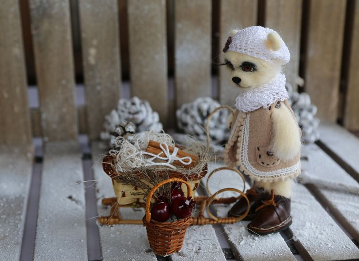 Needle felted bear with sled (complete set).  Collectible felted bear. Xmas decorations for home. Xmas gift. by donidinadya on Etsy