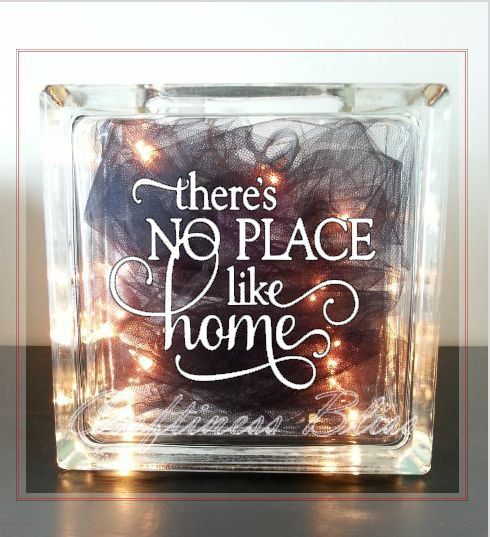 Theres no place like home quote decoration home decor custom 8 x 8 glass block vinyl decal