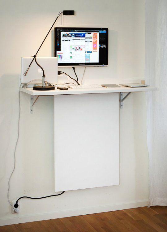 настенный компьютерный стол своими руками со скрытыми шнурами