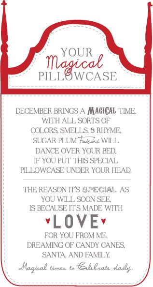 sissyprint: Magical Pillowcase Gift Tag #christmas
