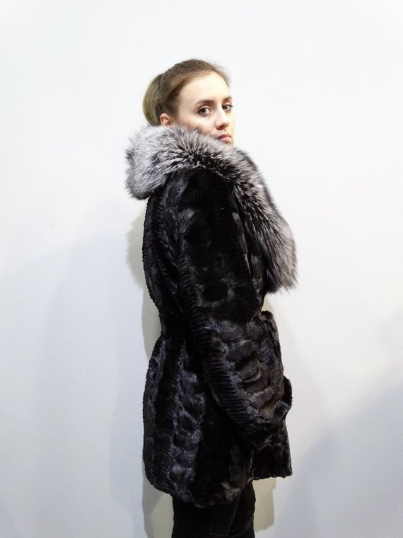 Real Mink Fur sheared with Big Fox CollarBlack by FilimegasFurs