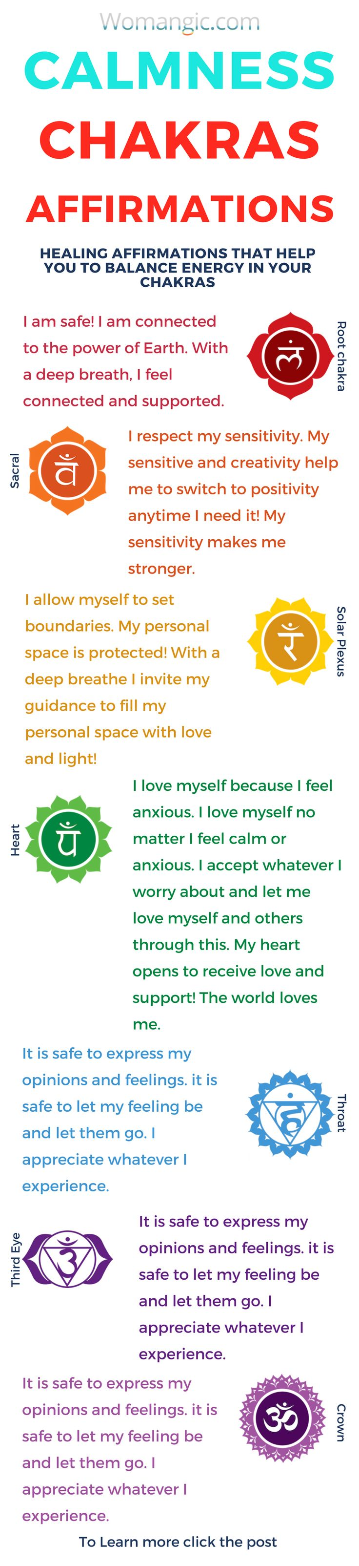 Affirmations to feel calmer, How to work with your chakras with affirmations. Chakra, Chakra Balancing, Root, Sacral, Solar Plexus, Heart, Throat, Third Eye, Crown, Chakra meaning, Chakra affirmation, Chakra Mantra, Chakra Energy, Energy, Chakra articles, Chakra Healing, Chakra Cleanse, Chakra Illustration, Chakra Base, Chakra Images, Chakra Signification, Anxiety, Anxiety Relief, Anxiety Help, Anxiety Social, Anxiety Overcoming, Anxiety Attack.Meditation | Guided Mediation | Meditation…