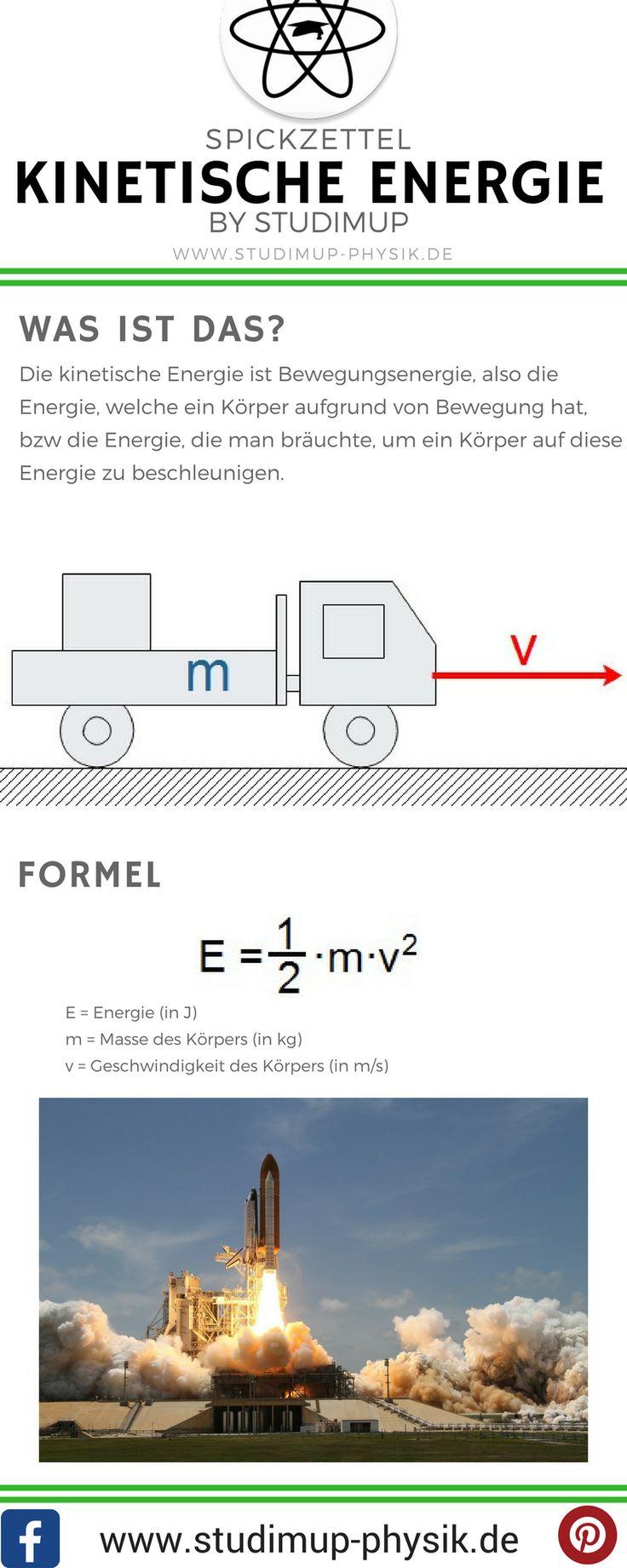 Spickzettel zur kinetischen Energie. Physik einfach lernen mit Studimup.