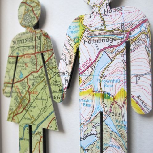 so cute! use map showing where you live or where you grew up... or for dreamers how about a map of where you'd like to go?