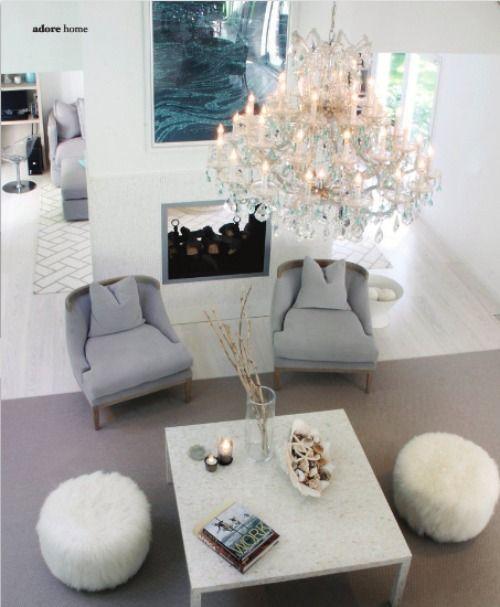 Clean & Elegant: Interior Design, Decor Ideas, Chandelier, Living Rooms, Dream, Interiors, Livingroom, Home Decor, Family Room