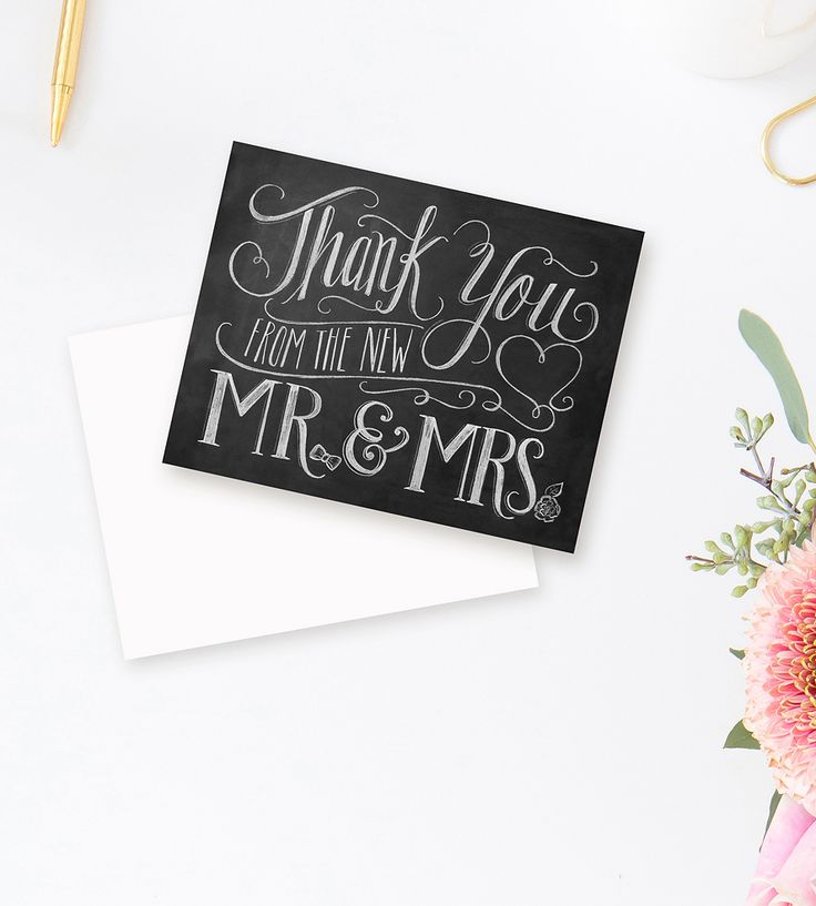 free online printable wedding thank you cards%0A From Mr   u     Mrs  Chalkboard Art Thank You Cards