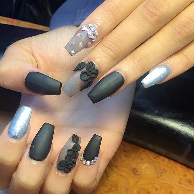 Coffin Nails With 3d Acrylic Flowers Nails Pinterest Coffin Nails Acrylics And Ps