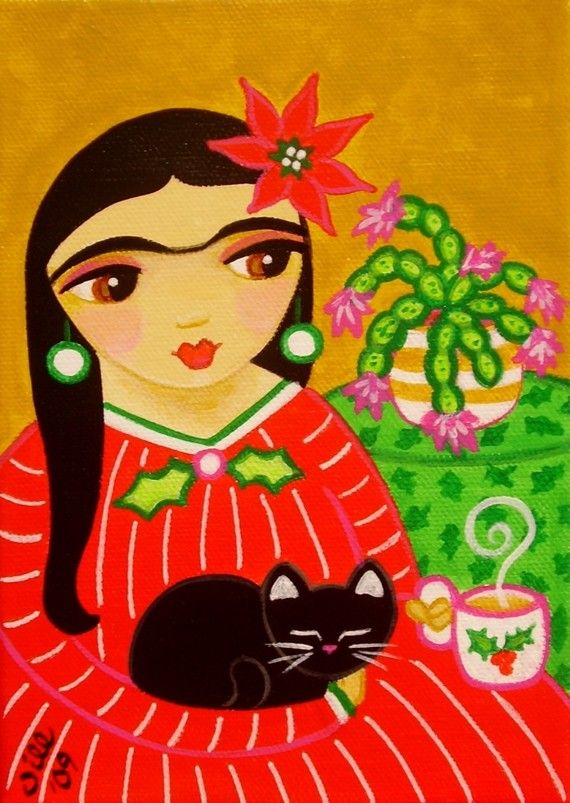 FRIDA Kahlo and Black CAT Christmas Folk Art PRINT from Original Painting by Jill