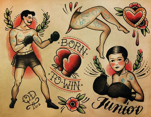 Thème de boxe Tattoo Flash Design