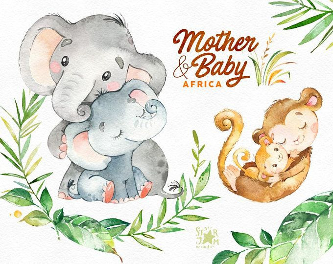 Mother Baby Africa Watercolor Animals Clipart Elephant Monkey Cheetah Greeting Invite Kids Family Floral Aquarelltiere Tiere Clipart Elefantenbaby
