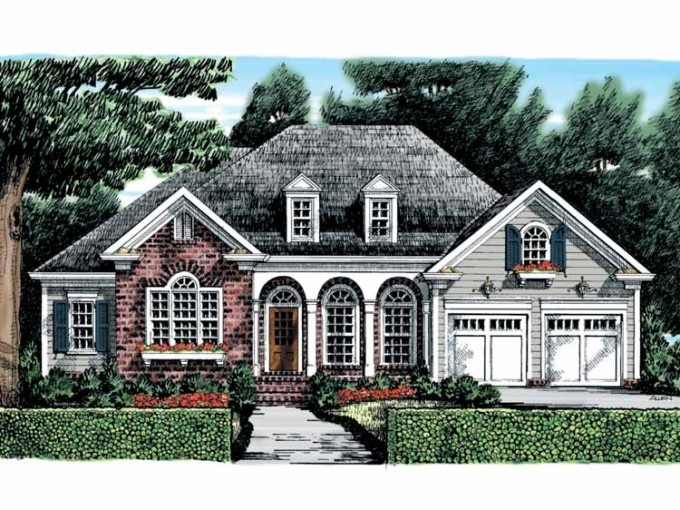 Beautiful arches on plan hwepl09565 lead inside to a smart one story layout with a bonus room - House plans with bonus rooms upstairs ...