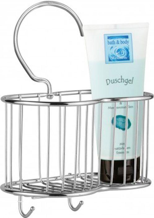 Praktischer Duschkorb aus Edelstahl mit extra großem Haken zur Aufhängung auf Duschgestänge aus Edelstahl von Sanwood.
