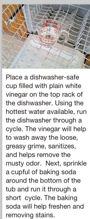 Clean dishwasher...Got to try this in our new houses' dishwasher.