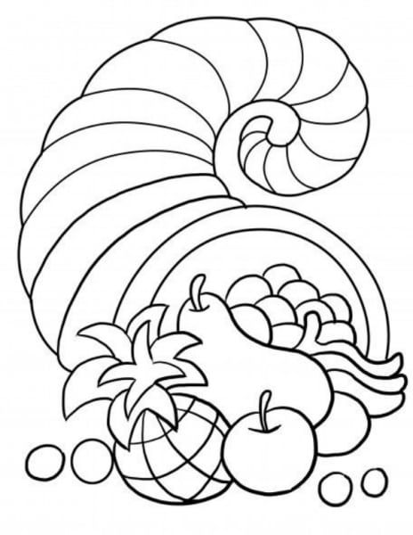 Free Thanksgiving Themed Coloring Pages For Kids Cornucopia