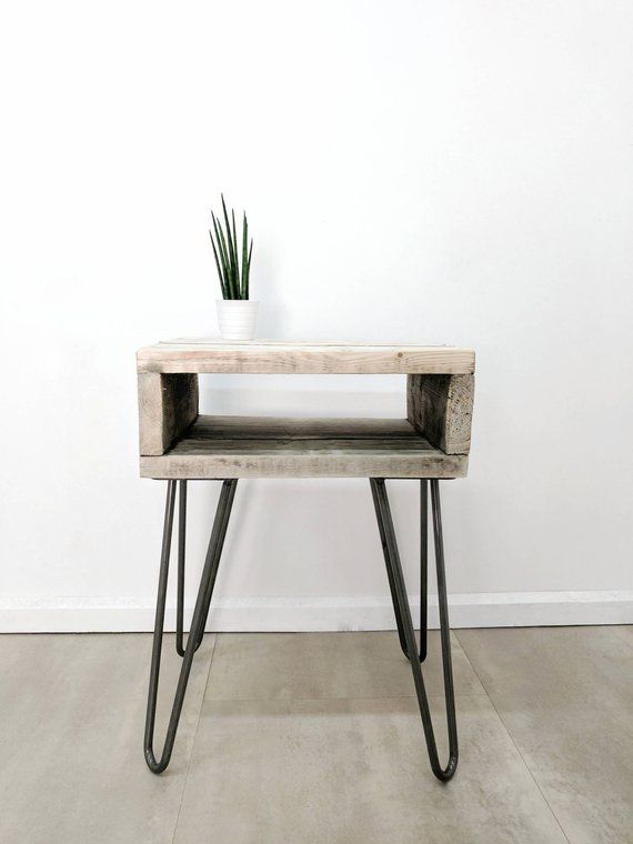Retro Side Table Noa In Driftwood Finish Plant Stand Night