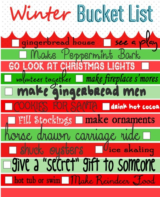 Winter Bucket List!Holiday, Christmas Time, Seasons, Cute Ideas, Christmas Buckets, Advent Calendar, Winter Bucket Lists, Winter Buckets Lists, Christmastime