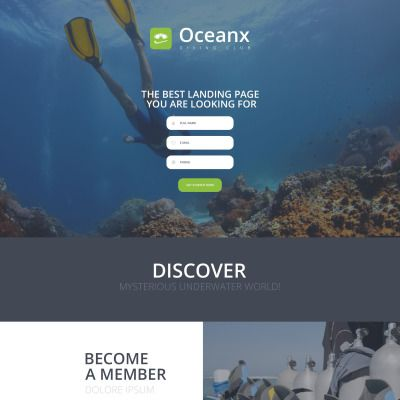 Diving Parallax Landing Page Template