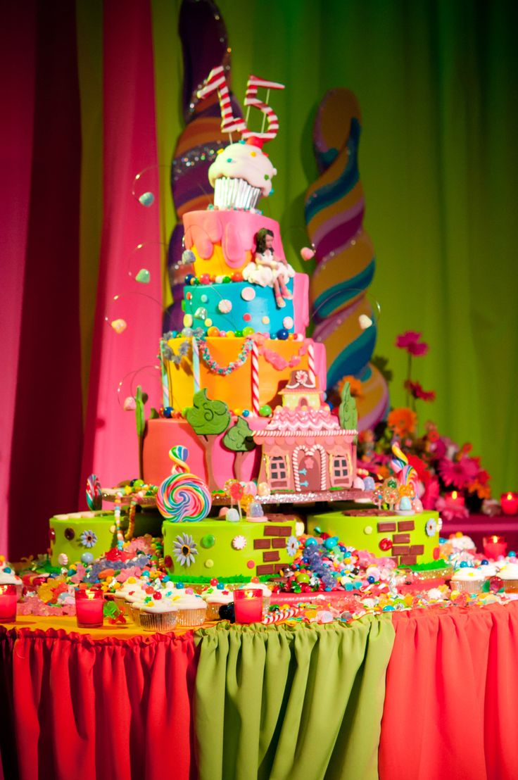 """Candyland Topsy This huge cake buttercream cake was double stacked (each tier was at least 6"""" high). The board alone was the size of a..."""