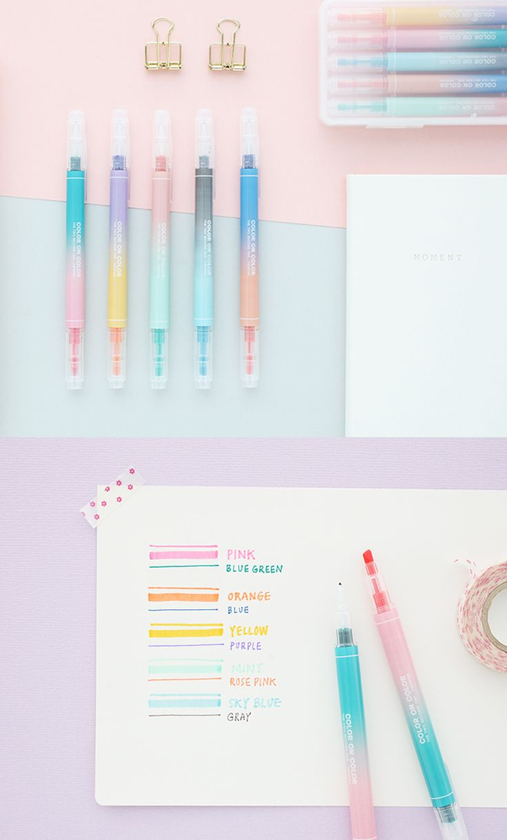 5 beautiful pens with 10 uniquely gorgeous colors? Yes, please~!! Write, doodle, draw, and craft to your heart's content with the versatile Twin Plus Color Pen Set. It features dual pen tips with different sizes that makes it perfect for highlighting, too! It's a must-have for your pen collection. ^.~*