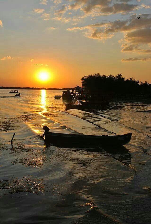 Sunset in the Danube delta,  Romania