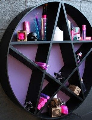 find this pin and more on my bedroom pentagram shelf by beserk purple gothic home decor - Goth Bedroom Decorating Ideas