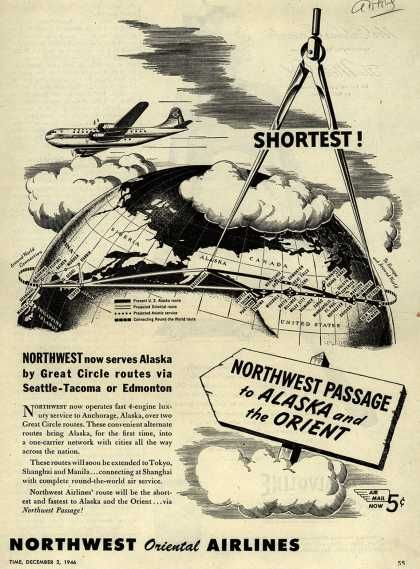 rare alaskan aircraft   Northwest Airline's Alaska and Orient – Shortest (1946)