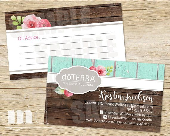 DoTerra Business Card Essential Oils Small Business Rustic