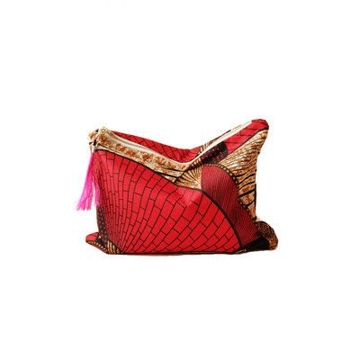 Oversized Clutch with Bag Charms - Red