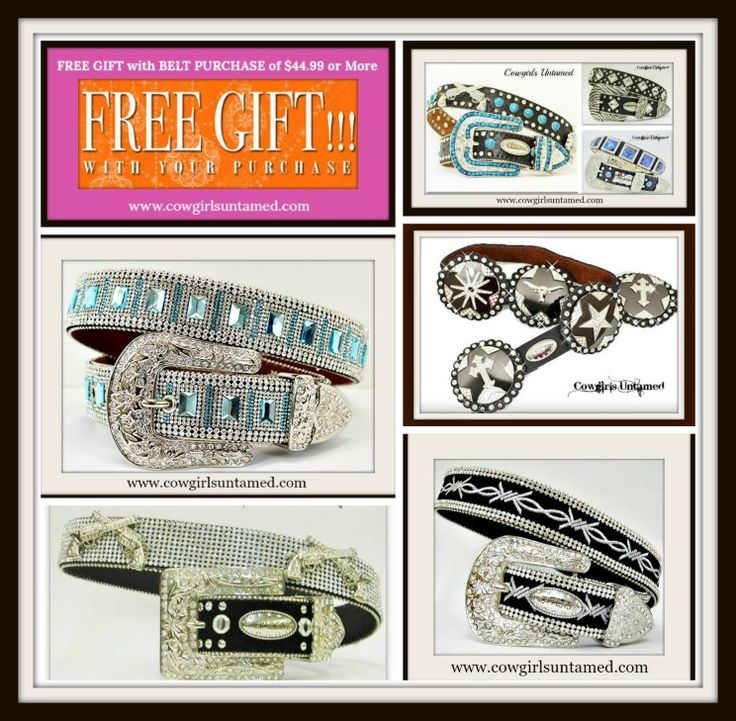 BUY a RHINESTONE BELT TODAY and get a FREE NICE PIECE OF CUSTOM EARRINGS!! Let us know metal tone and color of stone at checkout!  ORDER YOURS NOW! COWGIRLS UNTAMED ~ www.cowgirlsuntamed.com #FREEJEWELRY #FREE #DEAL #SAVE #cowgirl #belt #western #bling#rhinestone #concho #silver #buckle #beautiful #boutique #fashion #Style#haironhide #leather #rodeo #horse