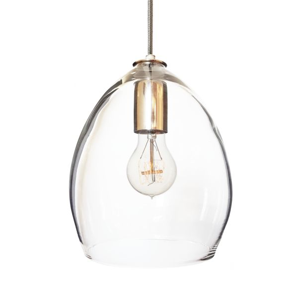 Beautifully Simple Handblown Clear Glass Pendant Light Choose From A Variety Of Cord And Finish
