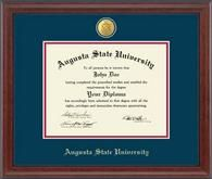 Augusta State University Diploma Frame - Our 23 Karat Edition features a jewelry-quality medallion of your school seal set into navy and red museum-quality matting. It is framed in our Signature moulding, crafted in solid hardwood with an elegant cherry finish, and accented with a black bead on the inner lip.